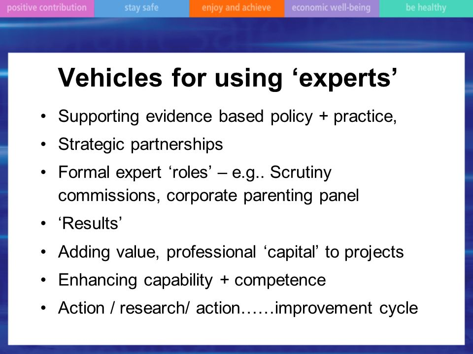 Vehicles for using experts Supporting evidence based policy + practice, Strategic partnerships Formal expert roles – e.g..