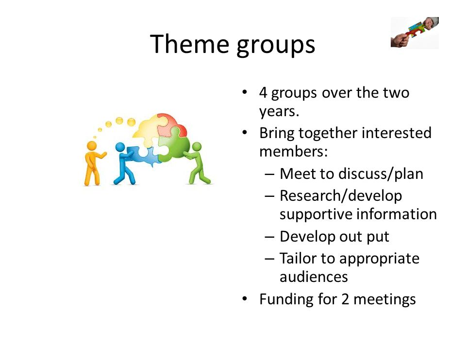 Theme groups 4 groups over the two years. Bring together interested members: – Meet to discuss/plan – Research/develop supportive information – Develo