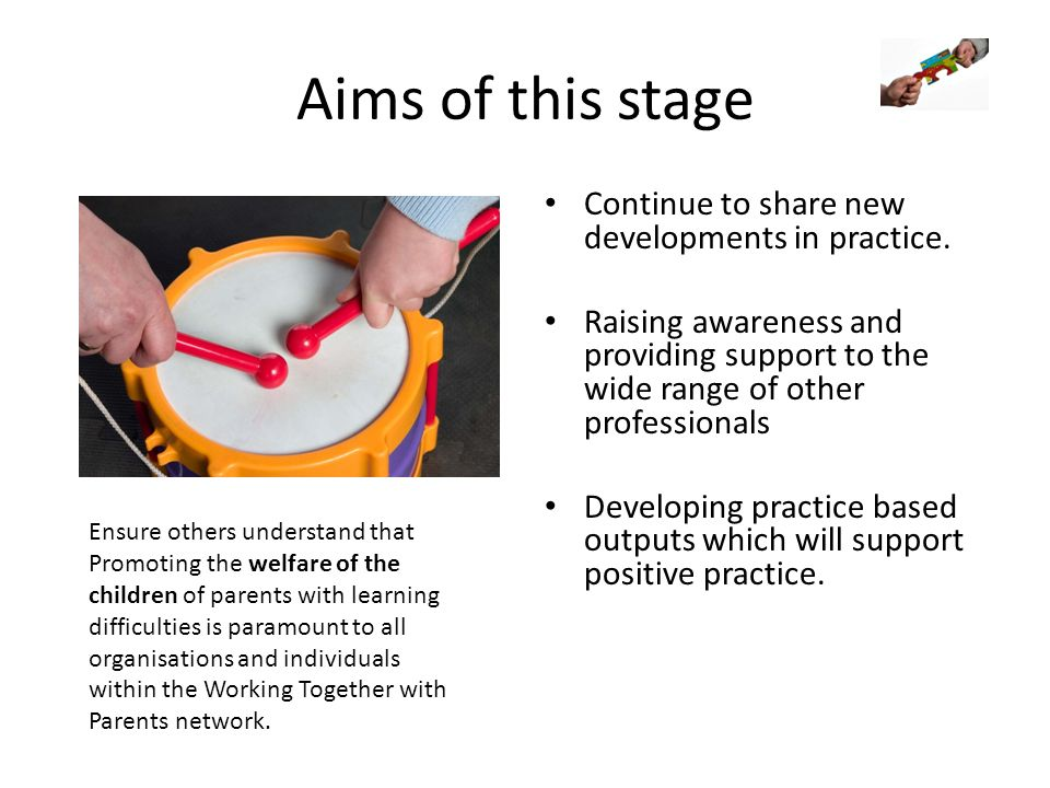 Aims of this stage Continue to share new developments in practice. Raising awareness and providing support to the wide range of other professionals De