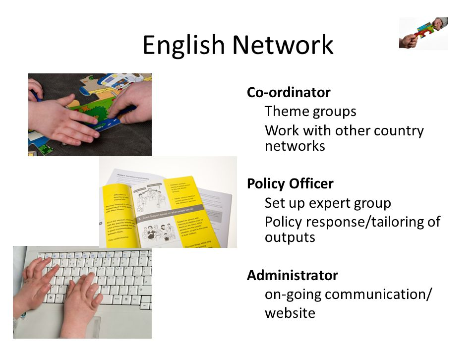 English Network Co-ordinator Theme groups Work with other country networks Policy Officer Set up expert group Policy response/tailoring of outputs Administrator on-going communication/ website