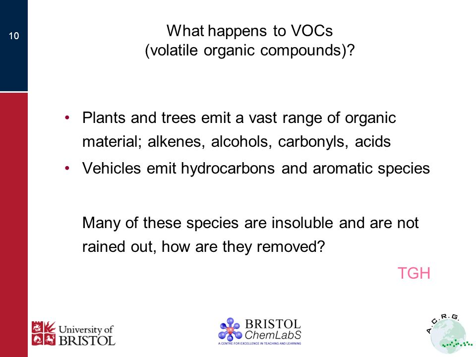 10 What happens to VOCs (volatile organic compounds).