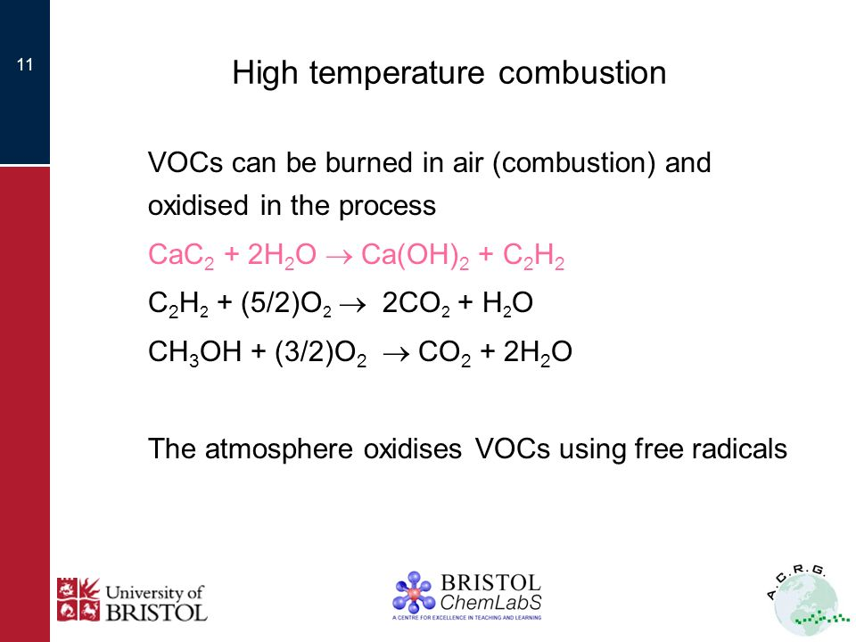 11 High temperature combustion VOCs can be burned in air (combustion) and oxidised in the process CaC 2 + 2H 2 O Ca(OH) 2 + C 2 H 2 C 2 H 2 + (5/2)O 2 2CO 2 + H 2 O CH 3 OH + (3/2)O 2 CO 2 + 2H 2 O The atmosphere oxidises VOCs using free radicals