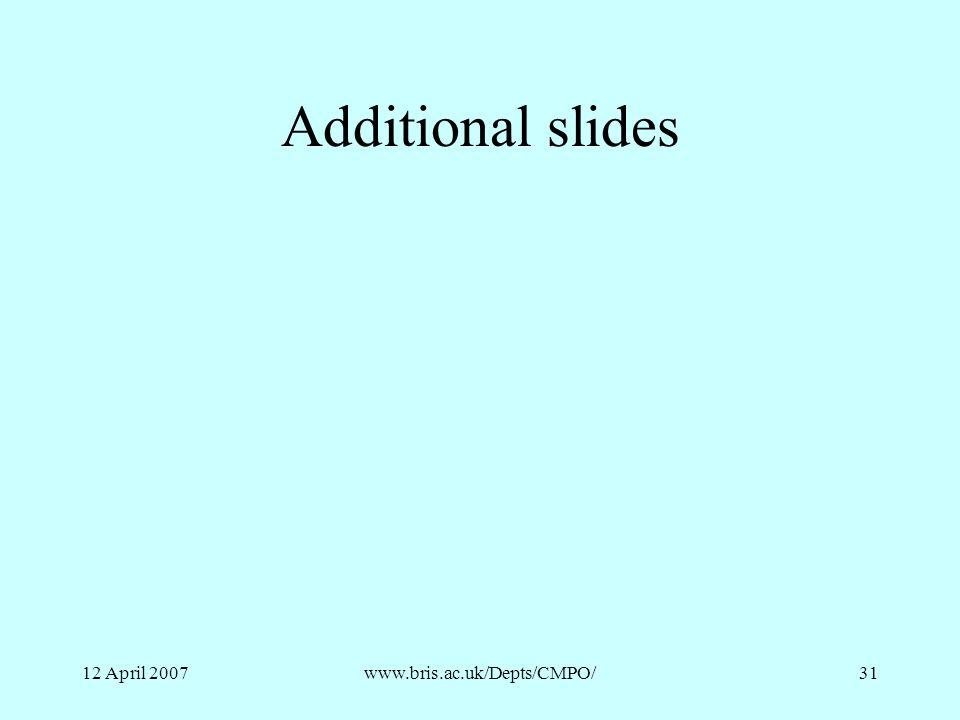 12 April 2007www.bris.ac.uk/Depts/CMPO/31 Additional slides