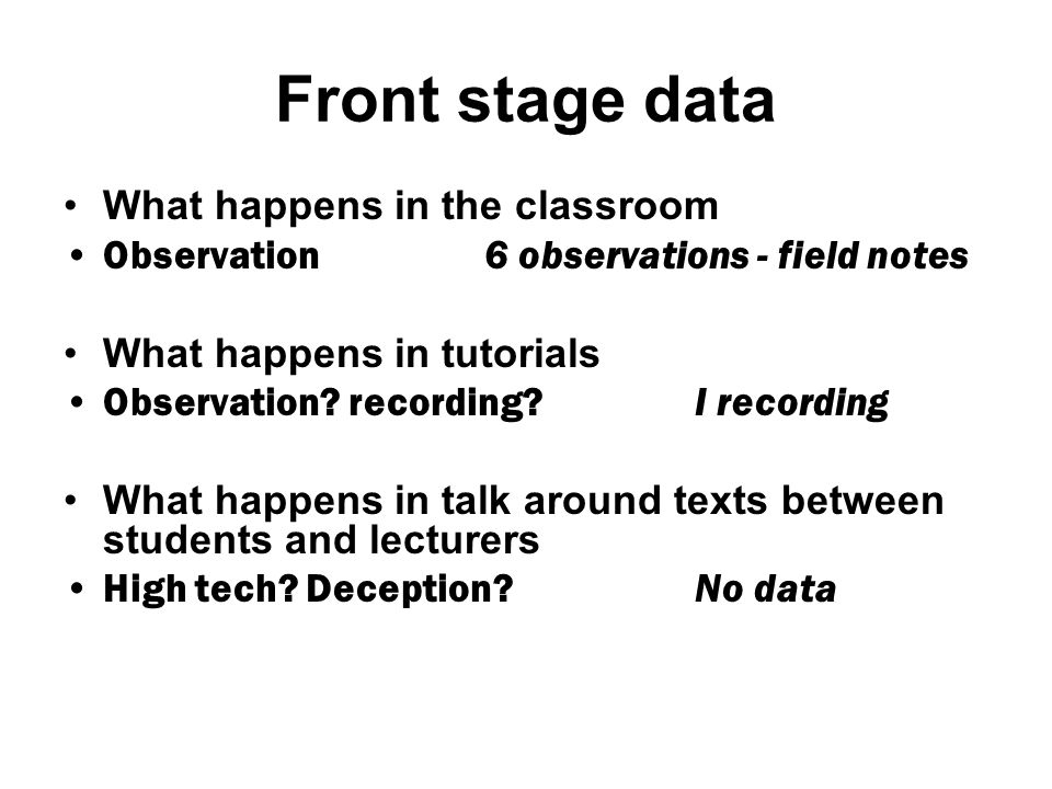 Back stage data What students say about the classroom/ tutorials/talk around texts 38 recorded interviews What lecturers say about the classroom/ tutorials/talk around texts 15 recorded interviews