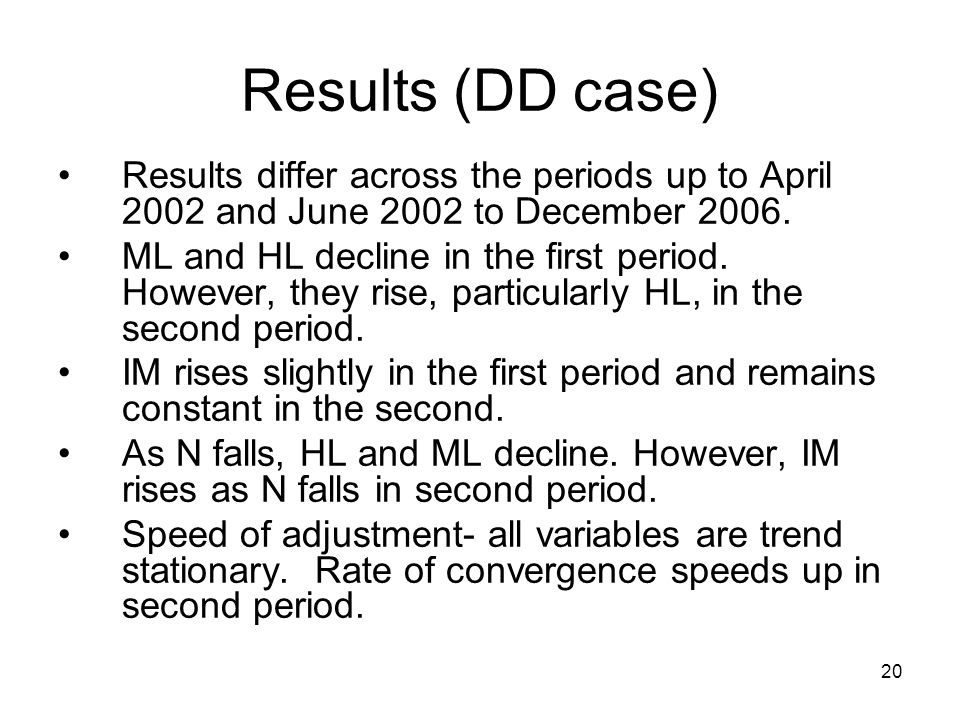 20 Results (DD case) Results differ across the periods up to April 2002 and June 2002 to December 2006.