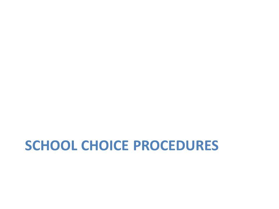 SCHOOL CHOICE PROCEDURES