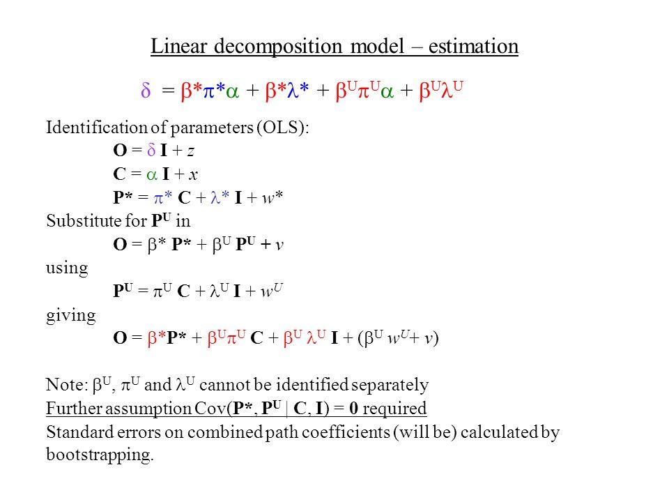 δ = * * + * * + U U + U U Linear decomposition model – estimation Identification of parameters (OLS): O = δ I + z C = I + x P* = * C + * I + w* Substitute for P U in O = * P* + U P U + v using P U = U C + U I + w U giving O = *P* + U U C + U U I + ( U w U + v) Note: U, U and U cannot be identified separately Further assumption Cov(P*, P U | C, I) = 0 required Standard errors on combined path coefficients (will be) calculated by bootstrapping.