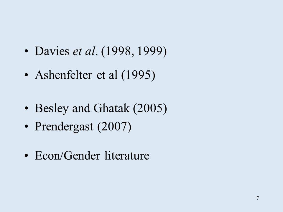 7 Davies et al. (1998, 1999) Ashenfelter et al (1995) Besley and Ghatak (2005) Prendergast (2007) Econ/Gender literature