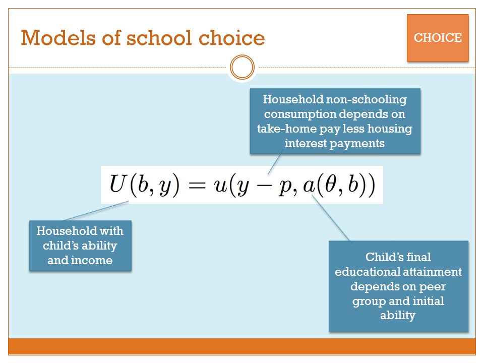 Models of school choice CHOICE Household with childs ability and income Household non-schooling consumption depends on take-home pay less housing interest payments Childs final educational attainment depends on peer group and initial ability