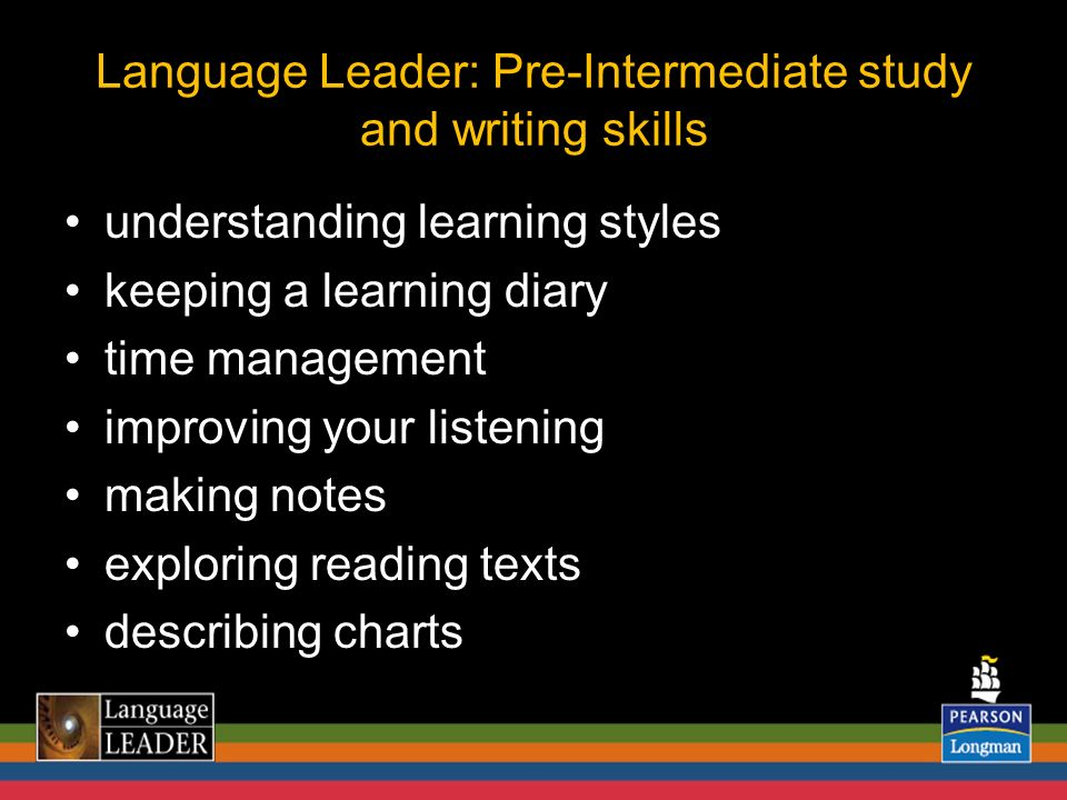 understanding learning styles keeping a learning diary time management improving your listening making notes exploring reading texts describing charts