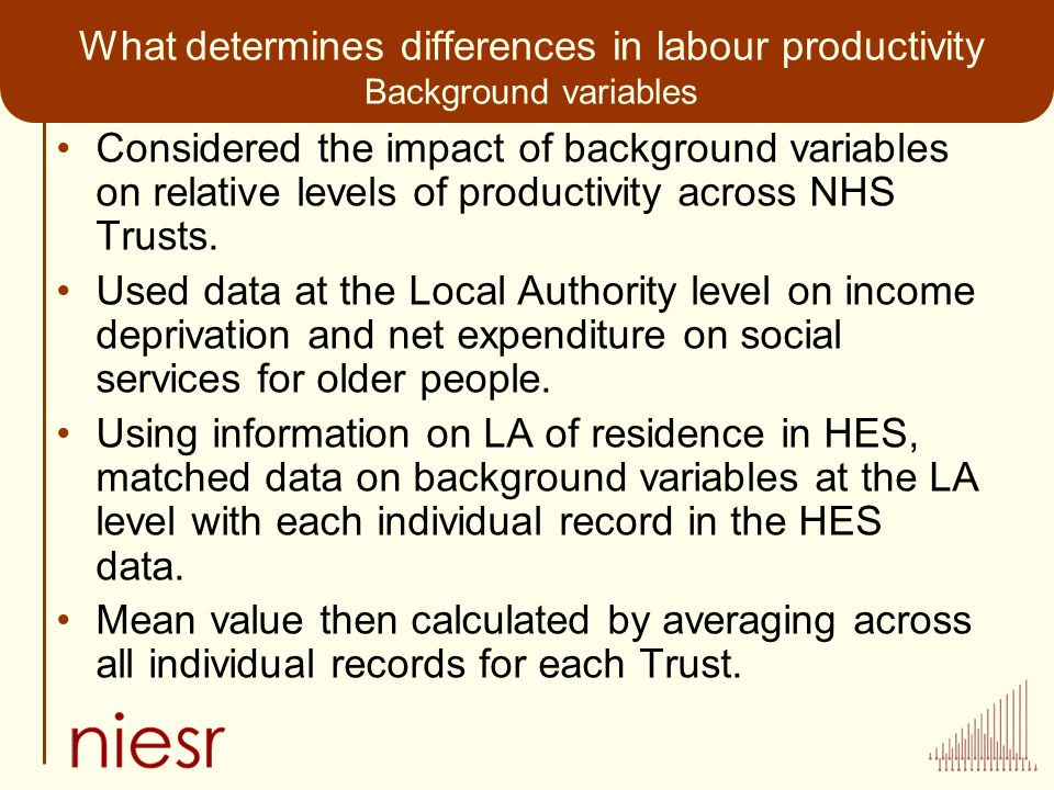 What determines differences in labour productivity Background variables Considered the impact of background variables on relative levels of productivity across NHS Trusts.