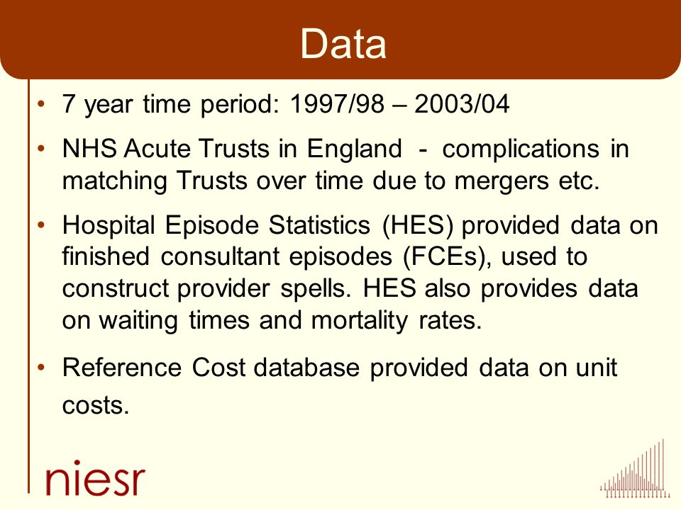 Data 7 year time period: 1997/98 – 2003/04 NHS Acute Trusts in England - complications in matching Trusts over time due to mergers etc.