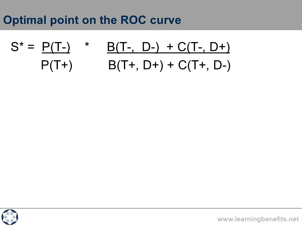 www.learningbenefits.net Optimal point on the ROC curve S* = P(T-) * B(T-, D-) + C(T-, D+) P(T+) B(T+, D+) + C(T+, D-)