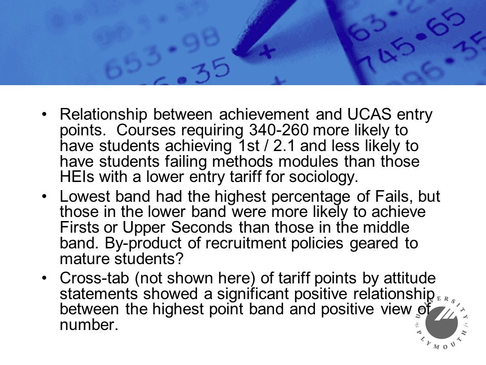 Relationship between achievement and UCAS entry points.