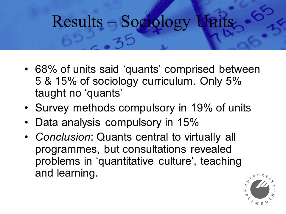Results – Sociology Units 68% of units said quants comprised between 5 & 15% of sociology curriculum.