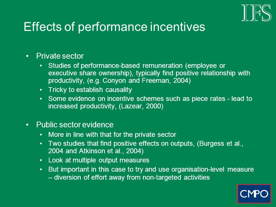Effects of performance incentives Private sector Studies of performance-based remuneration (employee or executive share ownership), typically find positive relationship with productivity, (e.g.
