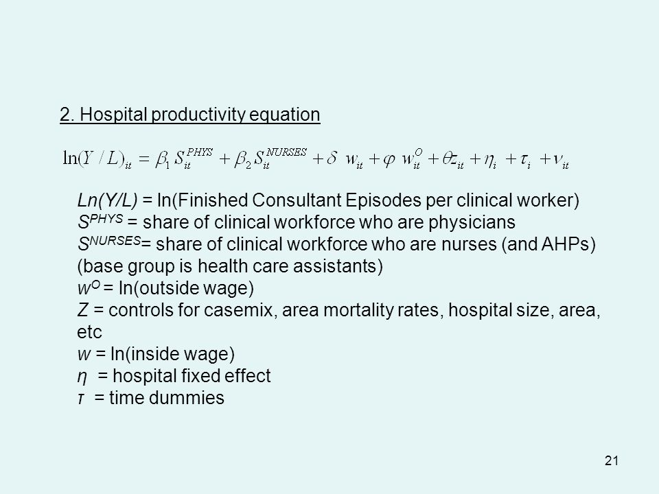 21 2. Hospital productivity equation Ln(Y/L) = ln(Finished Consultant Episodes per clinical worker) S PHYS = share of clinical workforce who are physi