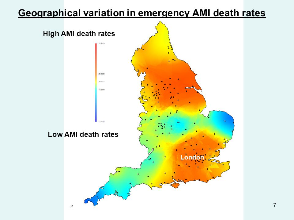7 High AMI death rates Low AMI death rates Geographical variation in emergency AMI death rates London
