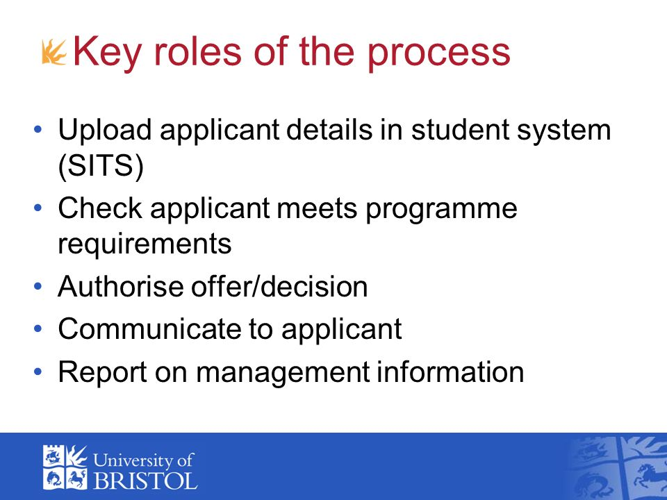 Key roles of the process Upload applicant details in student system (SITS) Check applicant meets programme requirements Authorise offer/decision Commu