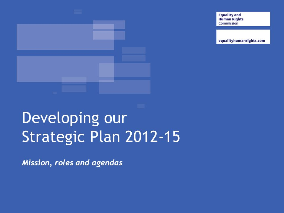 Developing our Strategic Plan 2012-15 Mission, roles and agendas