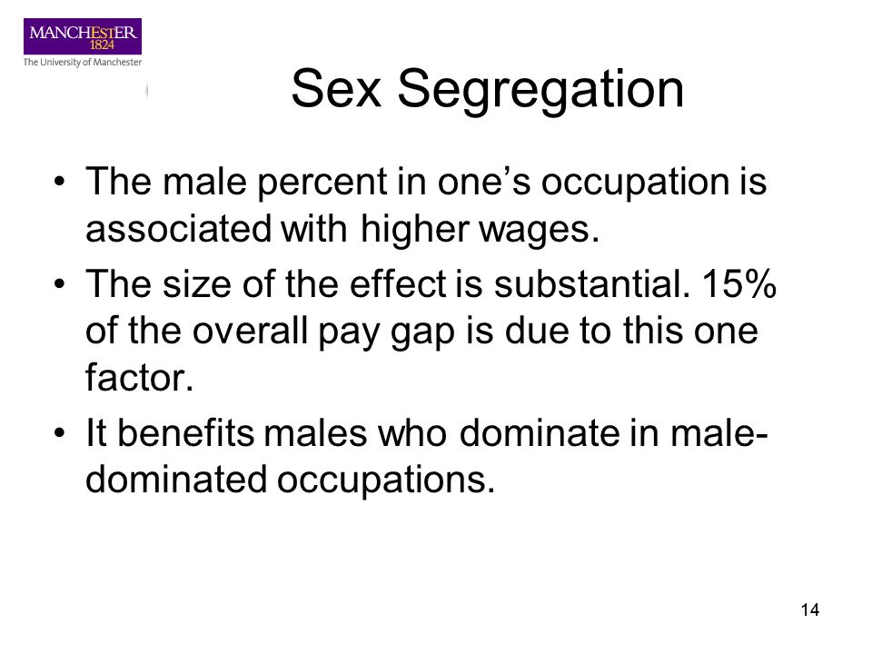 14 Sex Segregation The male percent in ones occupation is associated with higher wages. The size of the effect is substantial. 15% of the overall pay