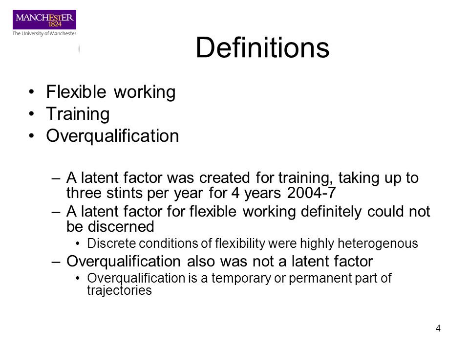 4 Definitions Flexible working Training Overqualification –A latent factor was created for training, taking up to three stints per year for 4 years 20