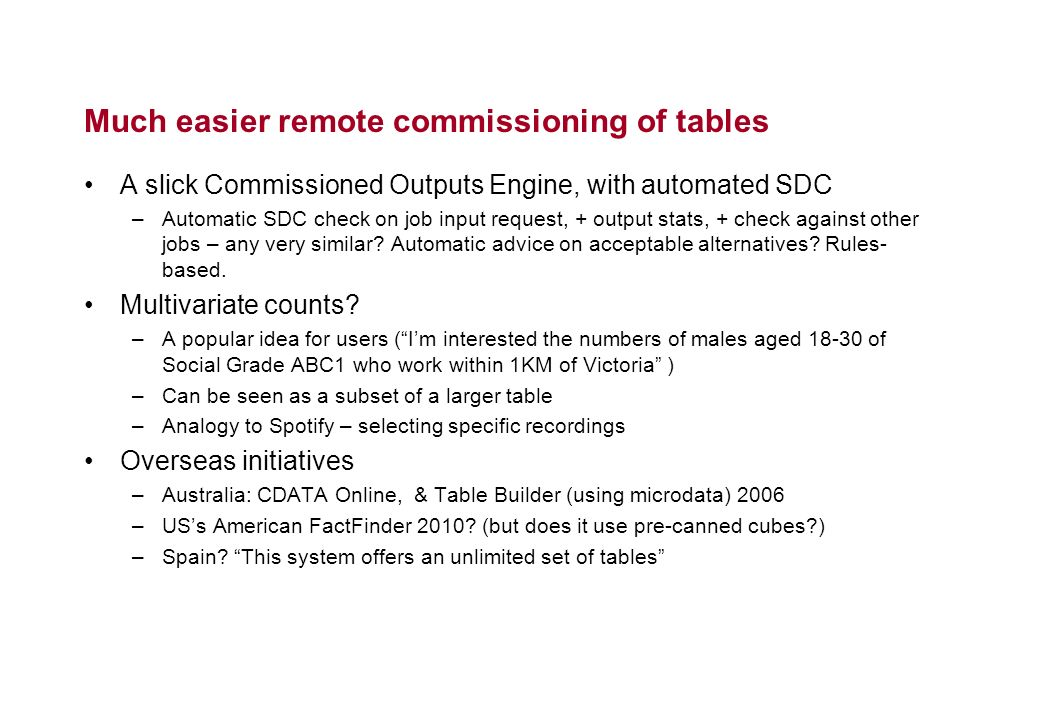 Much easier remote commissioning of tables A slick Commissioned Outputs Engine, with automated SDC –Automatic SDC check on job input request, + output