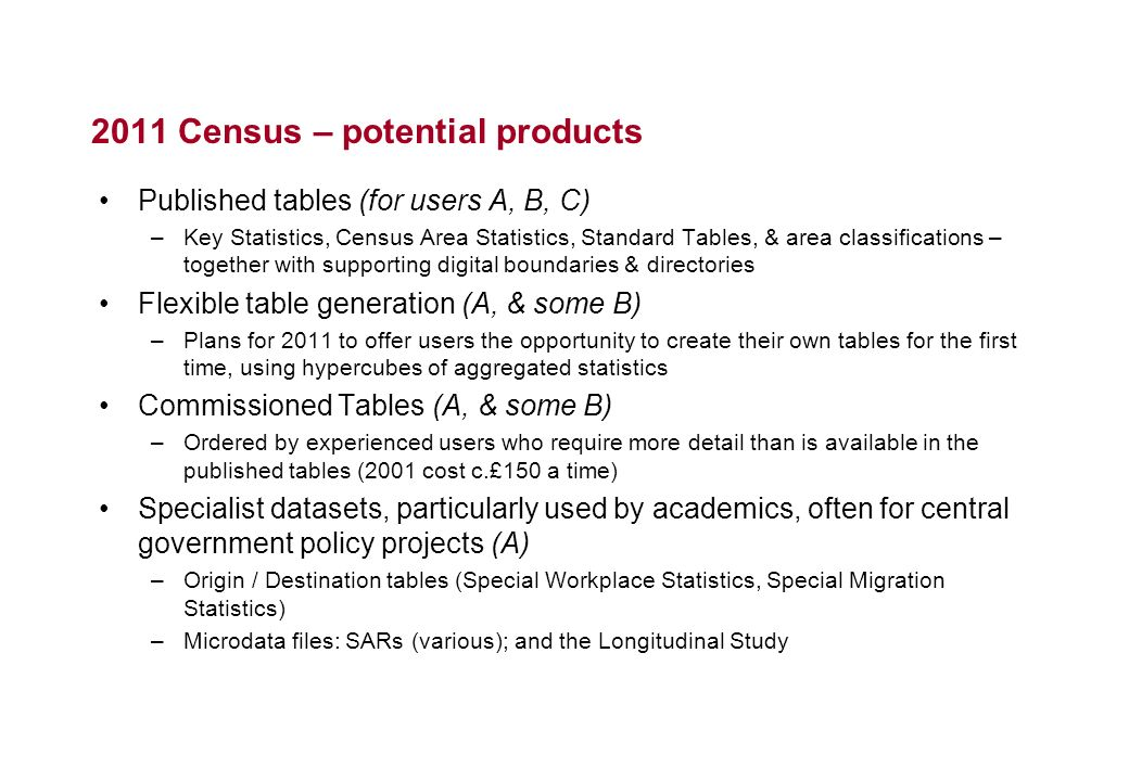 2011 Census – potential products Published tables (for users A, B, C) –Key Statistics, Census Area Statistics, Standard Tables, & area classifications