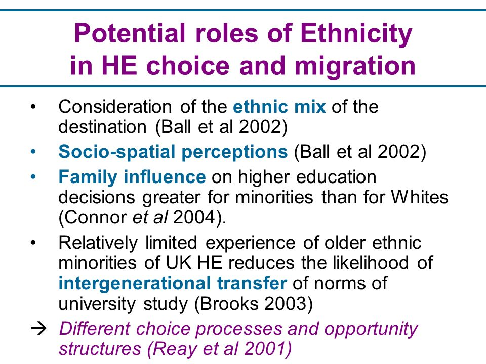 Potential roles of Ethnicity in HE choice and migration Consideration of the ethnic mix of the destination (Ball et al 2002) Socio-spatial perceptions (Ball et al 2002) Family influence on higher education decisions greater for minorities than for Whites (Connor et al 2004).
