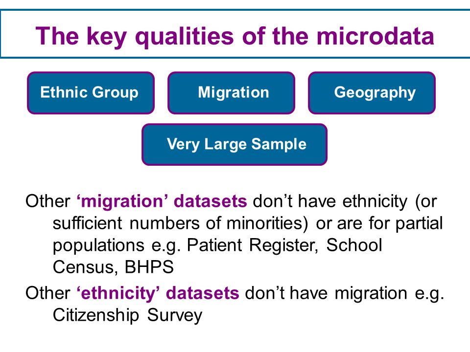 The key qualities of the microdata Other migration datasets dont have ethnicity (or sufficient numbers of minorities) or are for partial populations e.g.