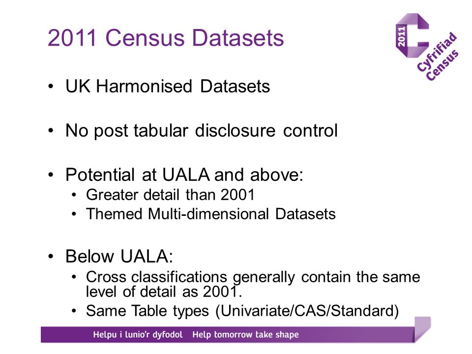 UK Harmonised Datasets No post tabular disclosure control Potential at UALA and above: Greater detail than 2001 Themed Multi-dimensional Datasets Below UALA: Cross classifications generally contain the same level of detail as 2001.
