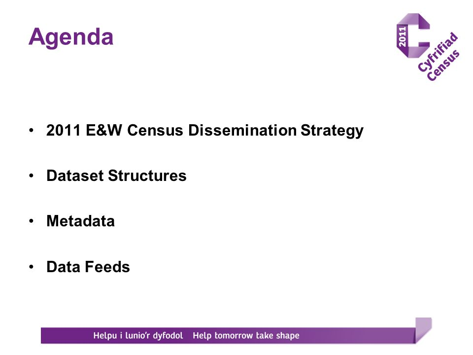 Agenda 2011 E&W Census Dissemination Strategy Dataset Structures Metadata Data Feeds
