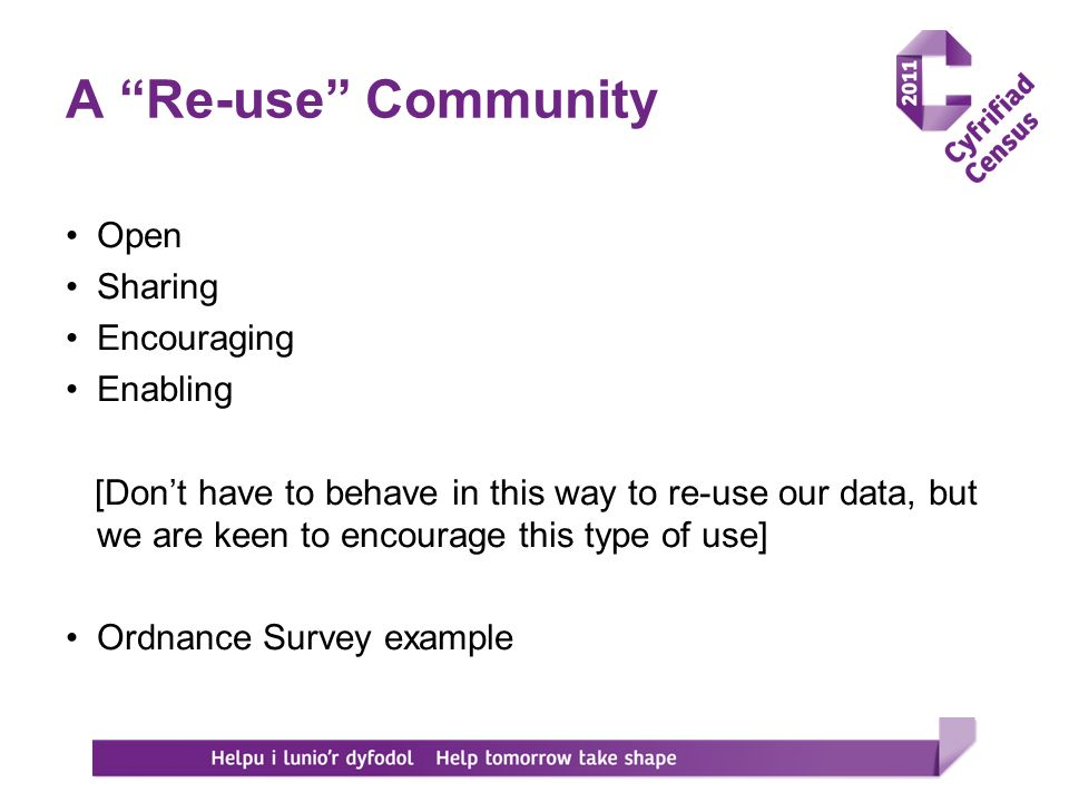 A Re-use Community Open Sharing Encouraging Enabling [Dont have to behave in this way to re-use our data, but we are keen to encourage this type of use] Ordnance Survey example