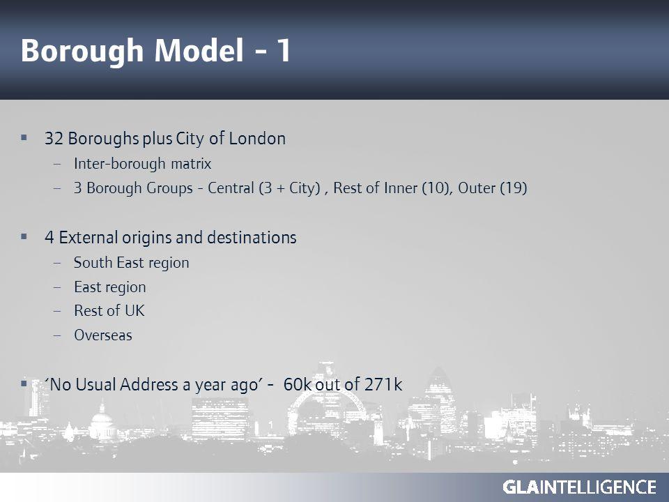 Borough Model - 1 32 Boroughs plus City of London – Inter-borough matrix – 3 Borough Groups - Central (3 + City), Rest of Inner (10), Outer (19) 4 Ext