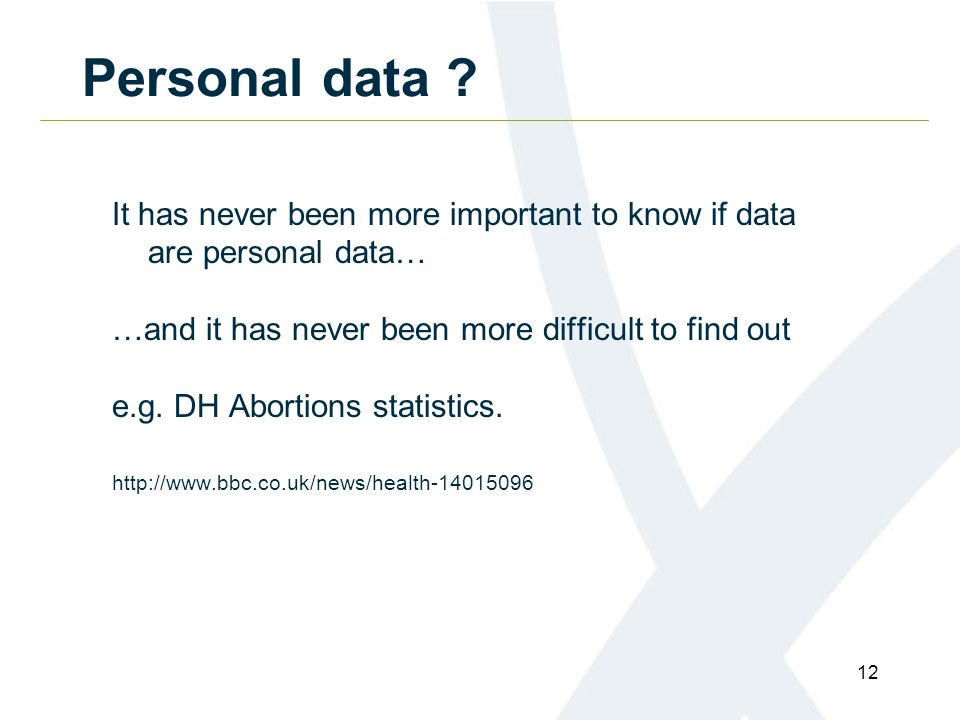 12 Personal data .