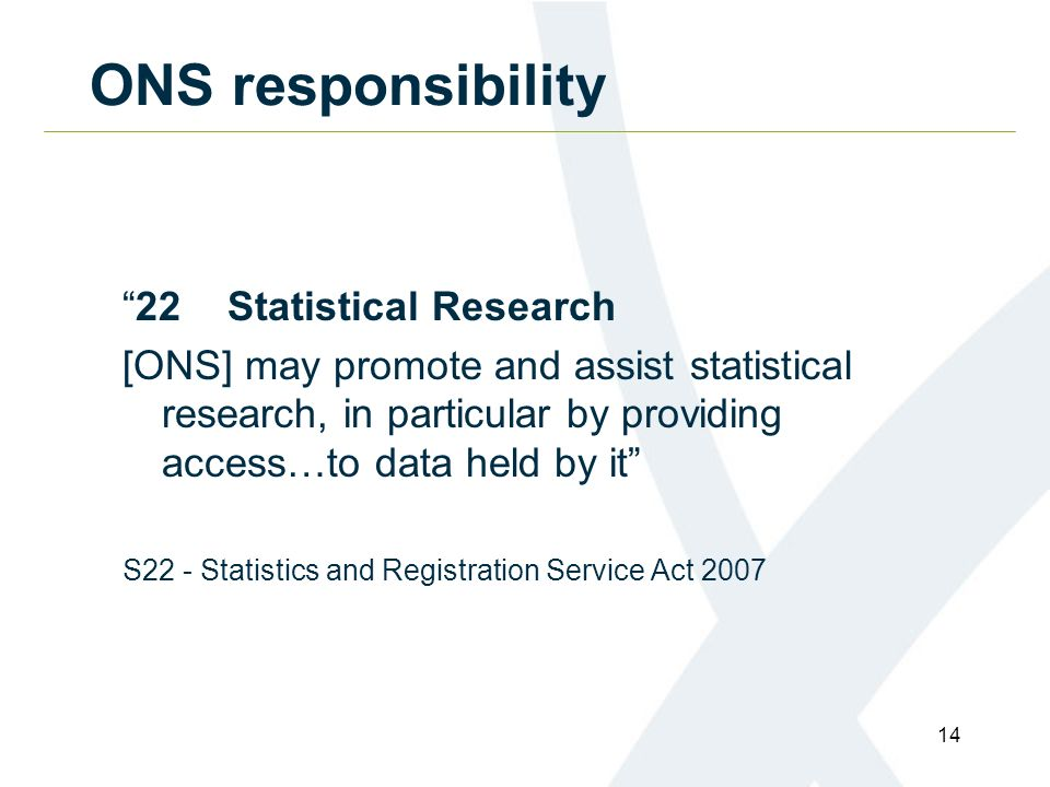 14 ONS responsibility 22Statistical Research [ONS] may promote and assist statistical research, in particular by providing access…to data held by it S22 - Statistics and Registration Service Act 2007