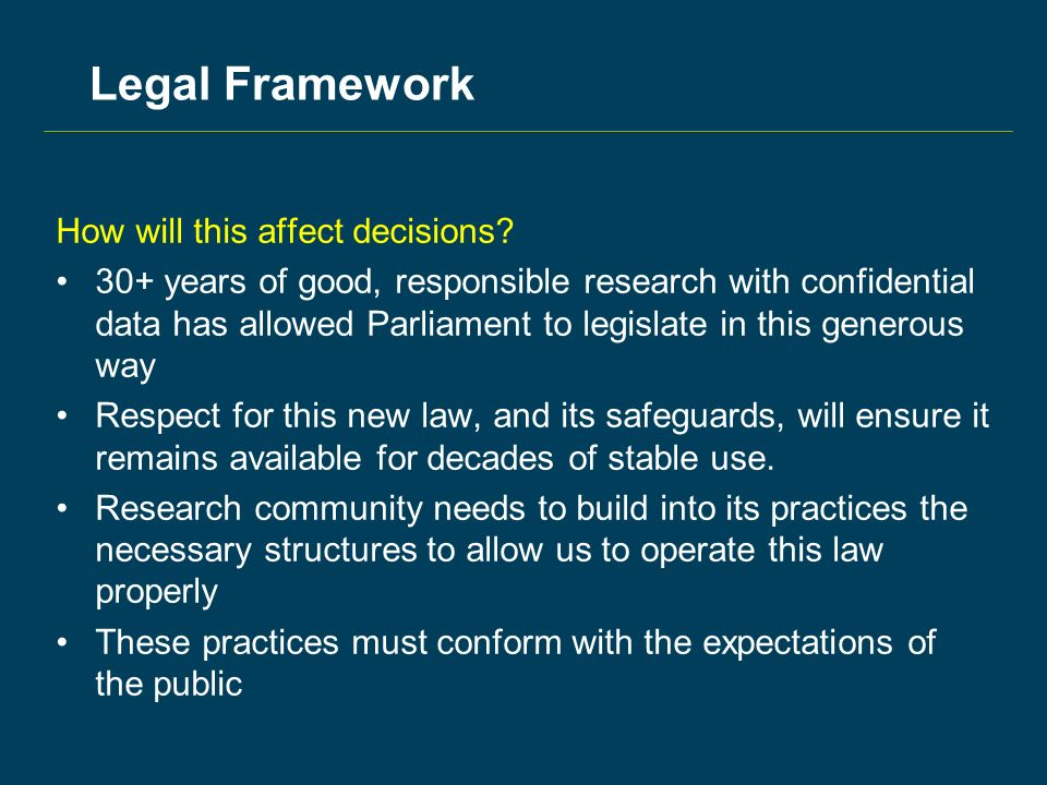 Legal Framework How will this affect decisions.