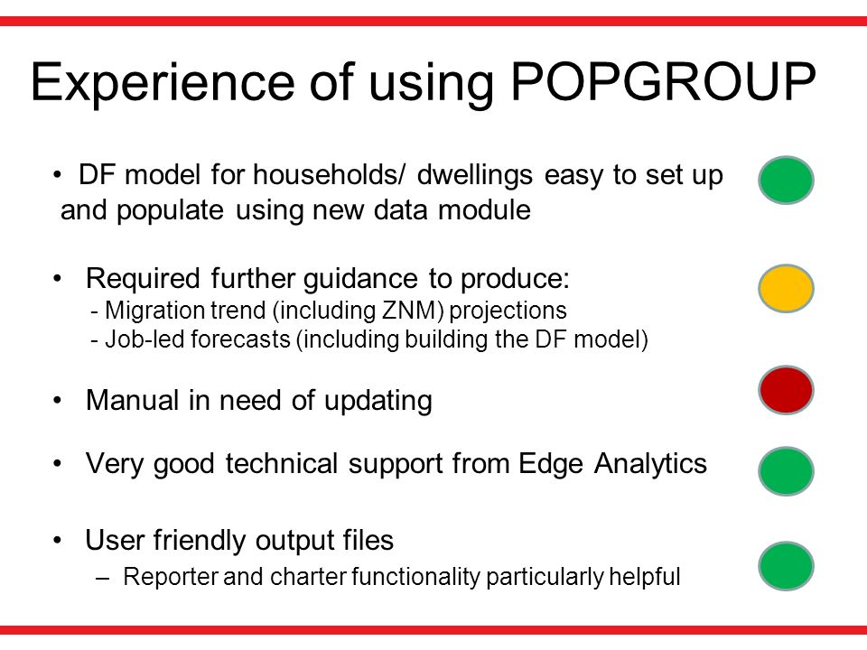 Experience of using POPGROUP DF model for households/ dwellings easy to set up and populate using new data module Required further guidance to produce