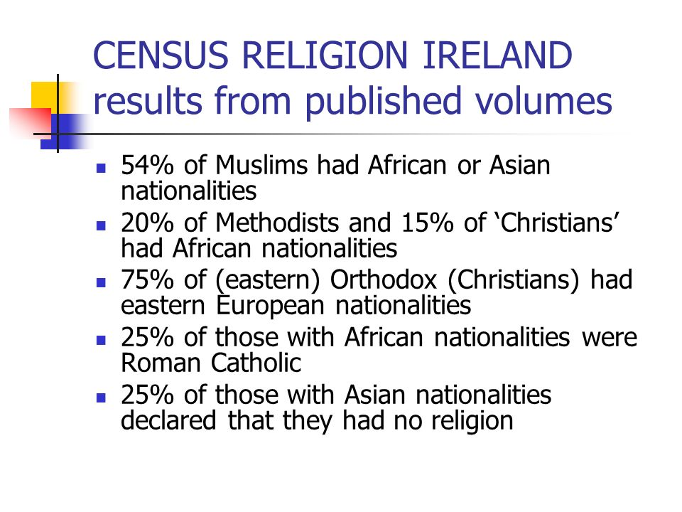 CENSUS RELIGION IRELAND results from published volumes 54% of Muslims had African or Asian nationalities 20% of Methodists and 15% of Christians had A