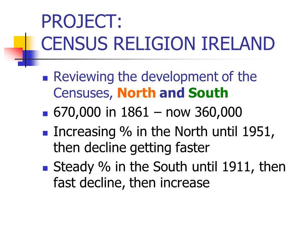 CENSUS RELIGION IRELAND The New Irish : SAR Birthplace and previous residence: NI, GB, EU-13, USA, others Nationality: Irish/not Irish Year of (last) moving to Republic: <51, 51-60, 61-70, 71-80, 81-90, 91-95, 96-02