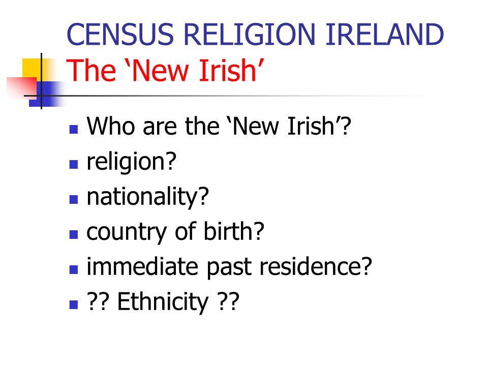 CENSUS RELIGION IRELAND results in published volumes R CC of IPresMethOrthChIslamOSRNoneNS Irish 3314899834881284046981166138025123183928829342274 Non-Irish 2242612489156064039783063891259217597390698910 British52588199273396184110414884733950 17304 2405 EU-1314396161531488263375240273982381692 E European72583671616167976981598178429081473 African5031133695515541032752431031147171109 Asian4363229941612983565472417056111025 American9934572313190484649611891837740 Other37688453731442172564036512454466 Not Stated2345677612261159157264262685 23317