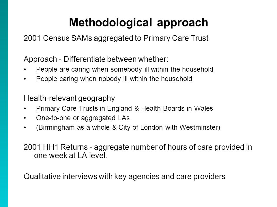 Methodological approach 2001 Census SAMs aggregated to Primary Care Trust Approach - Differentiate between whether: People are caring when somebody il
