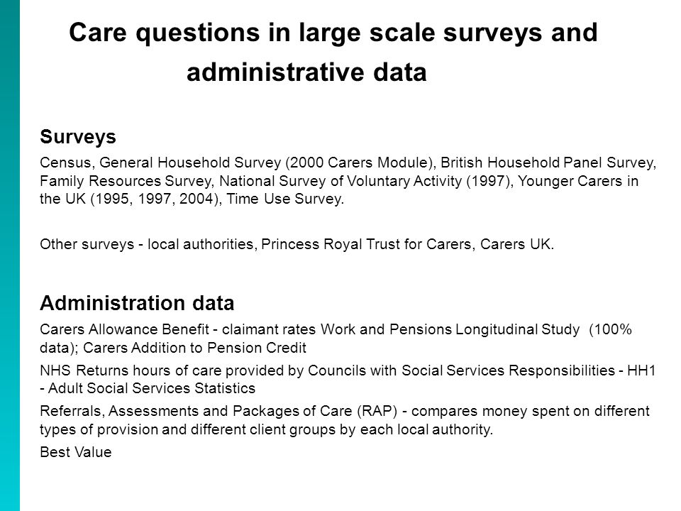 Care questions in large scale surveys and administrative data Surveys Census, General Household Survey (2000 Carers Module), British Household Panel Survey, Family Resources Survey, National Survey of Voluntary Activity (1997), Younger Carers in the UK (1995, 1997, 2004), Time Use Survey.