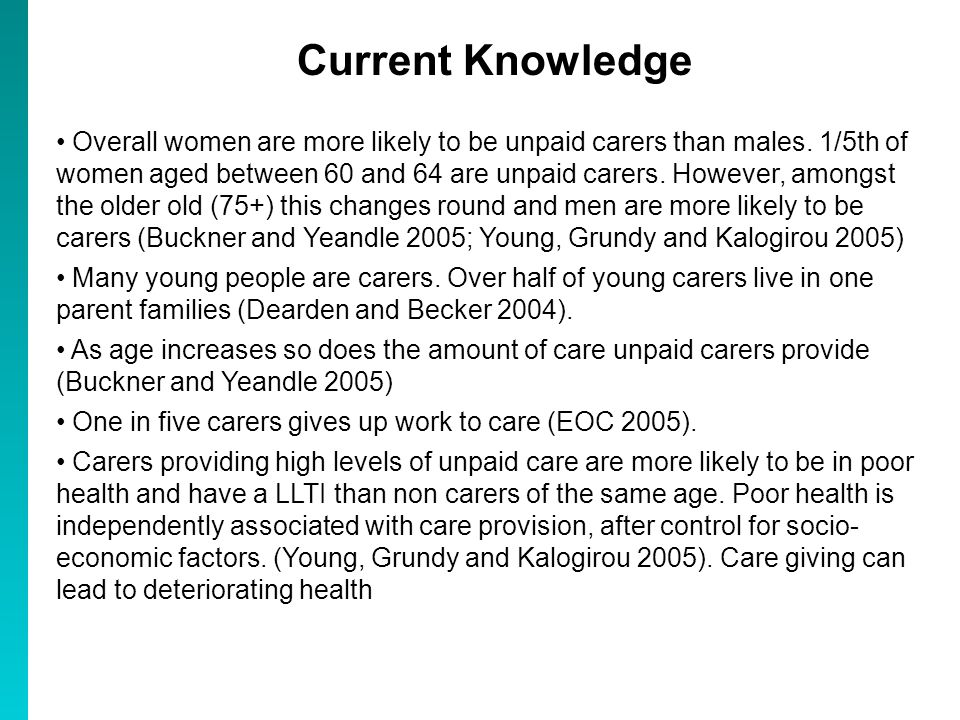 Current Knowledge Correlation of unpaid caring with deprivation (Hutton 2002; Young, Grundy and Kalogirou 2005; Shaw and Dorling 2004) Inverse care law - fewer medical practitioners in areas where LLTI is higher and where unpaid (and untrained) caring is higher (Shaw and Dorling 2004) Variations in caring by ethnicity.