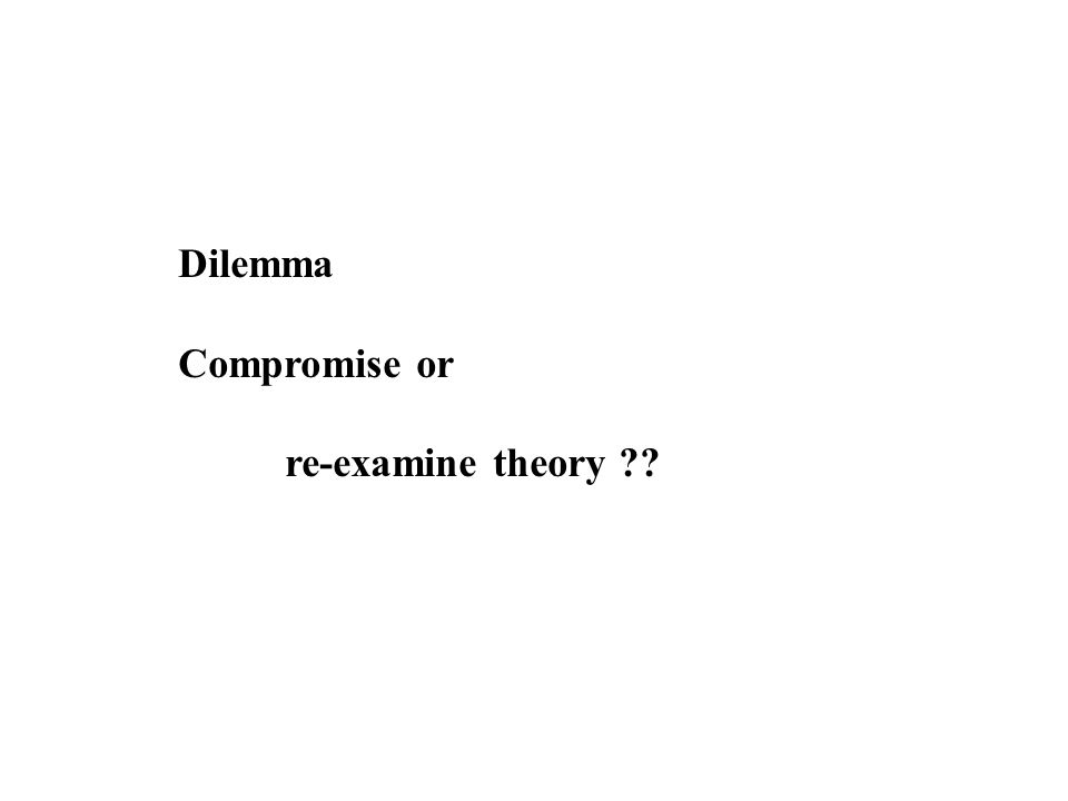Dilemma Compromise or re-examine theory ??