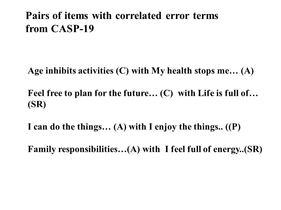 Pairs of items with correlated error terms from CASP-19 Age inhibits activities (C) with My health stops me… (A) Feel free to plan for the future… (C)