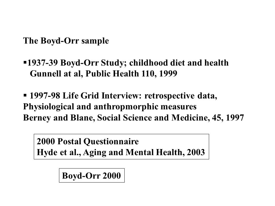 The Boyd-Orr sample 1937-39 Boyd-Orr Study; childhood diet and health Gunnell at al, Public Health 110, 1999 1997-98 Life Grid Interview: retrospectiv