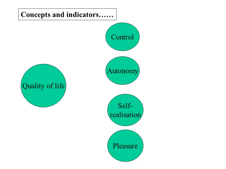 Concepts and indicators…… Quality of life Control Autonomy Self- realisation Pleasure