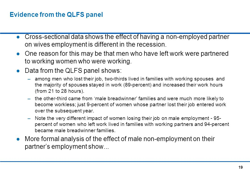 19 Evidence from the QLFS panel Cross-sectional data shows the effect of having a non-employed partner on wives employment is different in the recession.