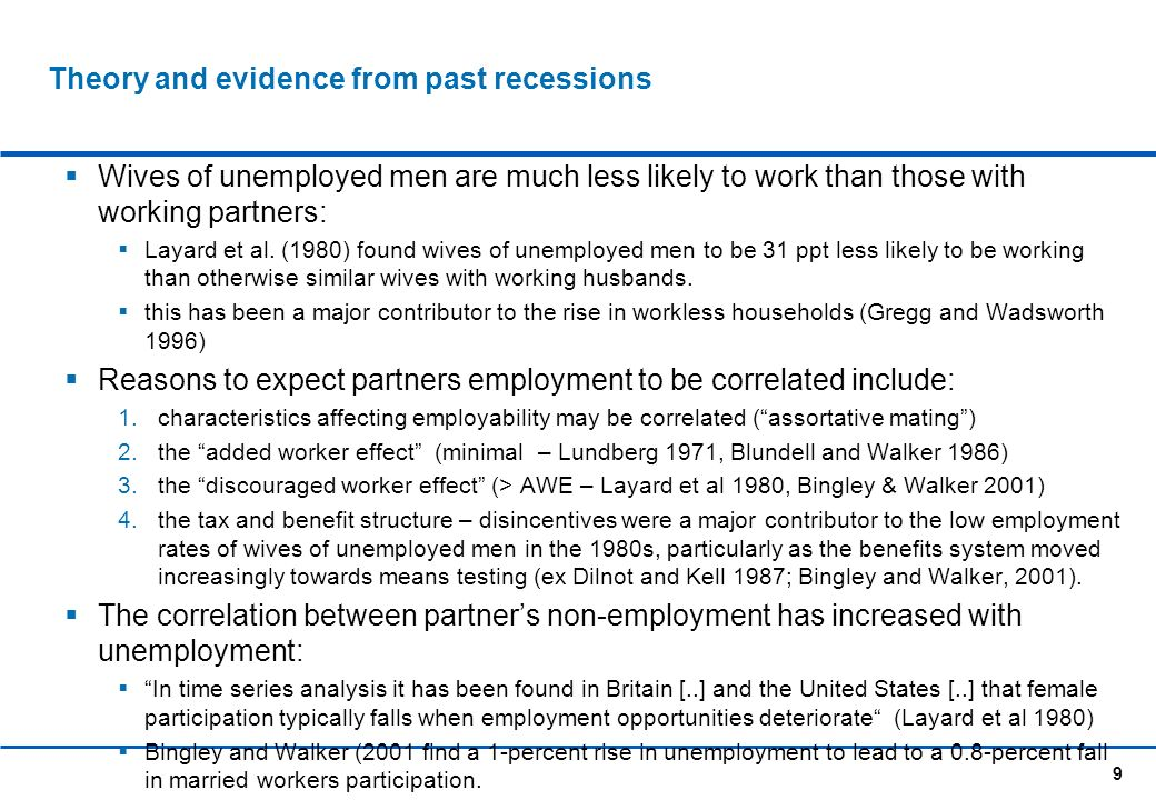 9 Theory and evidence from past recessions Wives of unemployed men are much less likely to work than those with working partners: Layard et al.